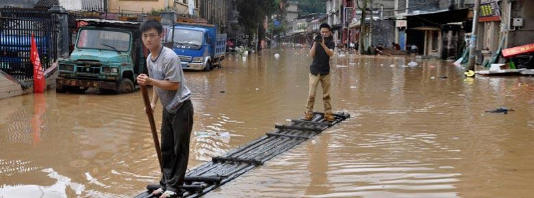 Фото последствий разрушительных ливней и наводнения в Китае